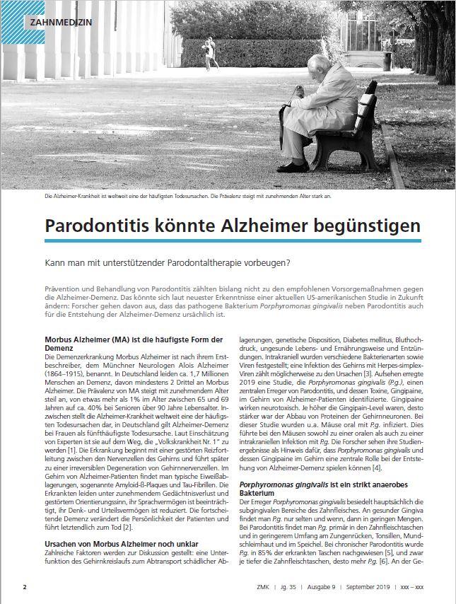 Parodontitis könnte die Entstehung von Alzheimer-Demenz gegünstigen. Kann man mit unterstützender Parodontaltherapie vorbeugen?