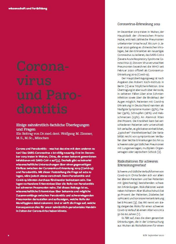 Fachartikel über Coronavirus und Parodontitis